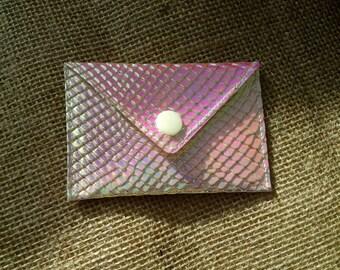 Holographic Credit/ Gift Card Holder - Irridescent Snakeskin Envelope Purse