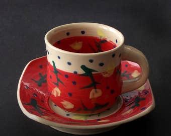 Espresso coffee mug, red small mug, porcelain mug, pottery mug, ceramic mug, handmade mug