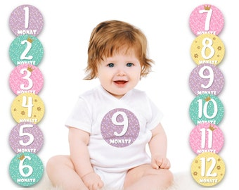 Paul & Gretchen baby month sticker for the 1st year of life (German) - little Miss