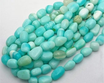 """Natural PERUVIAN OPAL smooth free form nuggets beads,sky blue color smooth nuggets beads,tumble beads ,12 mm - 15 mm approx,15""""strand[E0589]"""