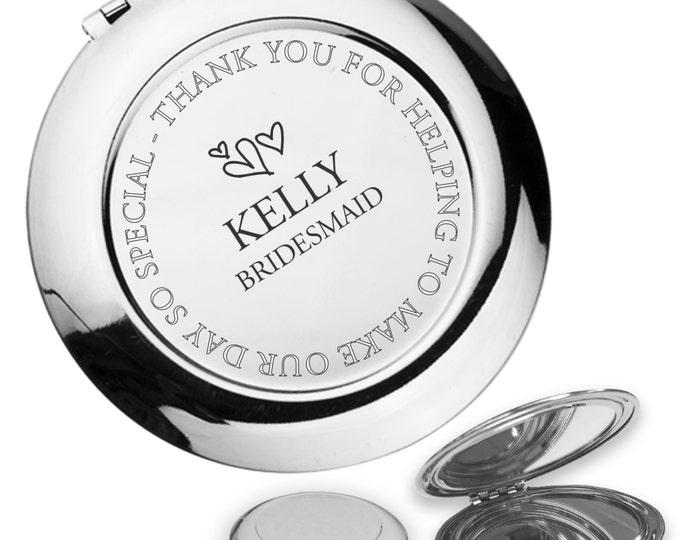 Personalised engraved BRIDESMAID compact mirror wedding thank you gift idea, handbag mirror - FL1