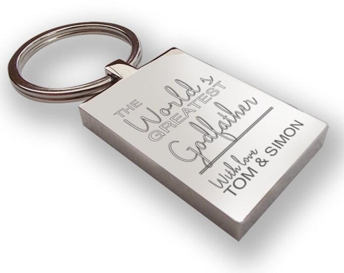 Personalised engraved world's greatest GODFATHER keyring gift, chunky rectangle keyring - WG6