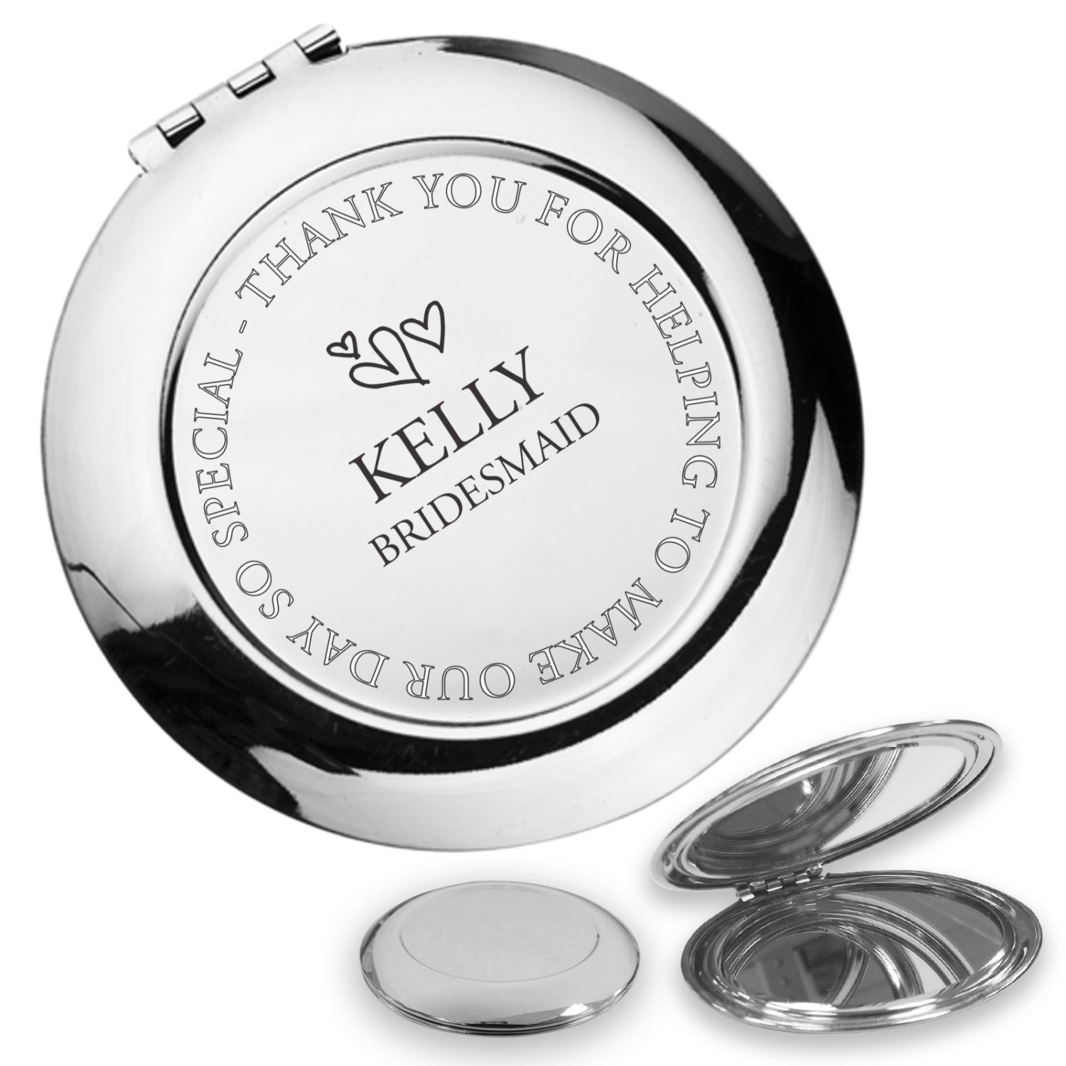 personalised engraved bridesmaid compact mirror wedding thank. Black Bedroom Furniture Sets. Home Design Ideas