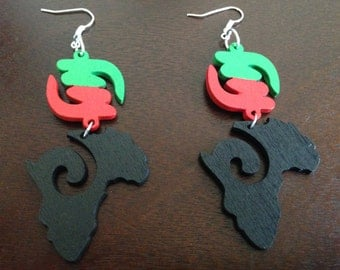 Gye Nyame Map Wood Earrings