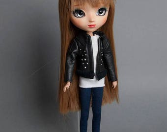 Leather  jacket for Pullip doll Stock, Obitsu 27 hard, Obitsu 27 soft