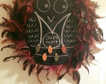 Owl Chalkboard Feather Wreath