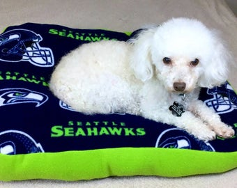 Seahawk Fleece Dog Bed Stuffed With Fluff-Handmade Dog Bed-Cushy Dog Bed-Washable Dog Bed-Seahawks 12th dog Bed-Soft and Cozy Fleece Dog Bed