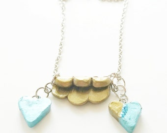 clay pendant with heart charms blue & gold necklace minimalist clay necklace jewelry teeny tiny Gifts for her handmade polymar clay design
