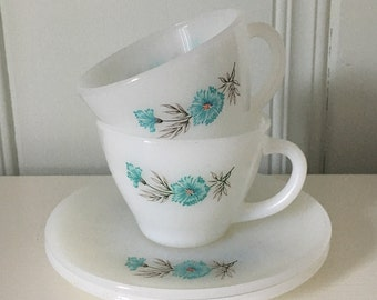 Vintage Fire King Bonnie Blue tea cup and saucer- set of two.