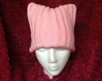 Handmade Knit Pink pussycat Cat Adult Womens hat