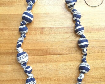 Nautical stripes fabric and paper bead necklace