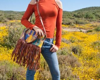 Guatemalan hand woven huipil fringe purse