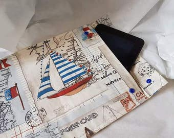 book pouch, tablet case, one off bespoke over. maritime case kindle, e reader cover