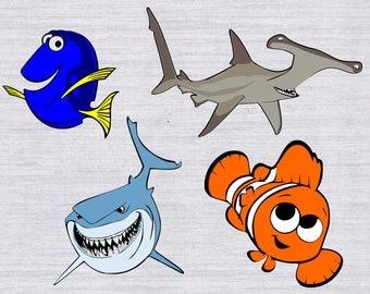 Nemo SVG bundle, Finding Nemo SVG, Dory SVG, svg files for silhouette, files for cricut, dxf files, cuttable design, dxf files, nemo clipart