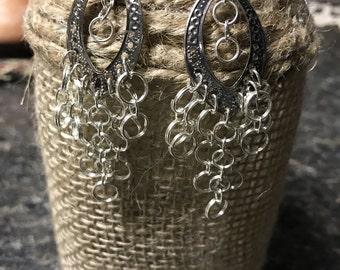 Chandelier Silver Earrings