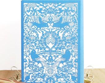 William Morris card, Wedding papercut card, Wedding bird card, Love birds card, Luxury wedding card, Morris bird card, Papercut bird card