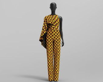 Custom Made African Print Cape Jumpsuit: Oheema