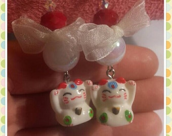 Maneki Neko hand made earrings boho chic
