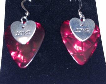 Love Heart Charm Guitar Pick Earrings