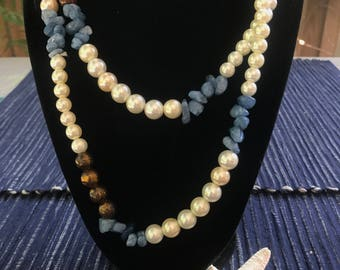 Long pearl and gemstone wrap necklace