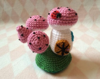 Crocheted White & Pink Toadstool Fairy House w/ Ladybird