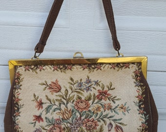Vintage Large West Germany Carpet Bag Tapestry Purse