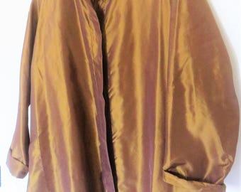 Silk taffeta bronze color blouse M