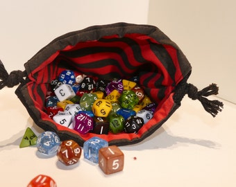 Dice Bag - Tile Pouch - Cotton - Reversible - Drawstring - Striped - Black -  Red - Handmade