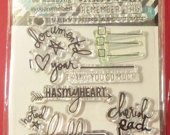 Heidi Swapp Sayings & Such 14 Piece Clear Stamp Set Great For Journals, Planners New