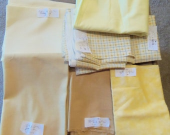 Lot of 5 Pounds+ of Fabric In Solid Yellow, Yellow Prints & Various Colors/Mixed Prints