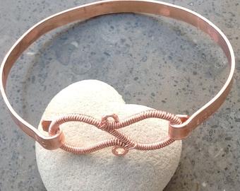 Bracelet bangle copper handmade unique