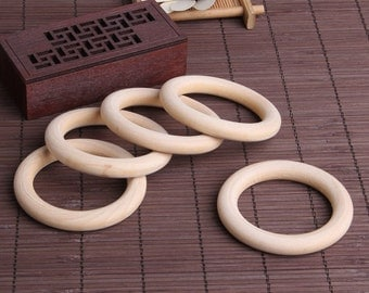 5 Pcs Wooden Teething Rings - 70 mm