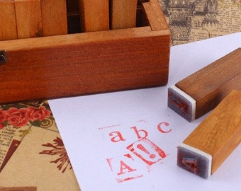 70 pcs Wooden Alphabet, Numbers & Symbols Stamps With Wooden Box Lowercase and Uppercase Letters