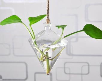 Diamond Hanging Glass Terrarium