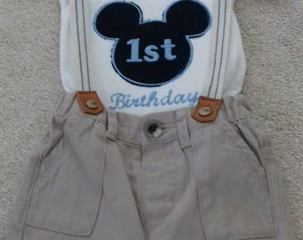 Personalised Mickey  Mouse Baby 1st Birthday Vest. Add your own colours and name. This is a rustic look rough edge finish. See pictures