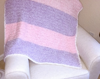 Crochet Baby Blanket - Pinks & Purple