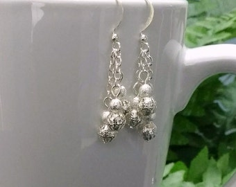 Silver Dangle Earrings with Silver Beads on Silver Chain