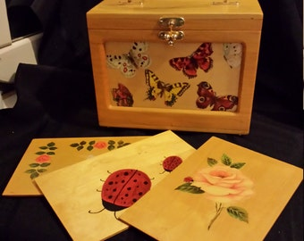 Vintage decoupage wood box changable footed purse handbag butterflies ladybug roses