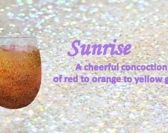 Stemless Glitter Wine Glass  in sunrise colors