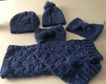 Hand-knit scarves - variety of colours and styles