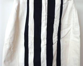 White Skirt With Black Stripes