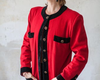 Vintage 80s Chanel Inspired Red Blazer