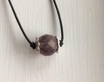 Single purple bead necklace