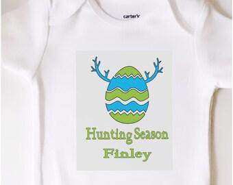 Custom name Egg hunting season Easter  Baby Onesie toddler shirt