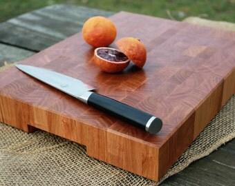 Handmade Butcher Block Cutting Board - Cherry End Grain with Handles (handmade custom wood)