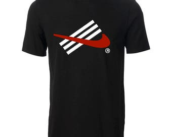 Fun Adidas and Nike Inspired T-Shirt Black  Birthday Gift Present