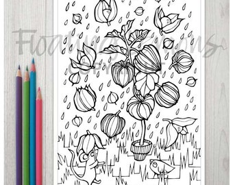 Printable Playful Physalis Colouring Page