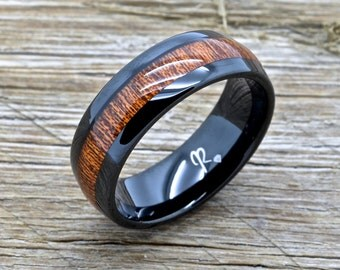Black Tungsten and Koa Wood Wedding Band, Tungsten Ring, 8mm Comfort Fit With Koa Wood Inlay