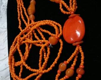 Orange multi glass beaded tassel vintage necklace