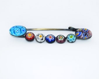 Vintage Brooch with Coloured Beading